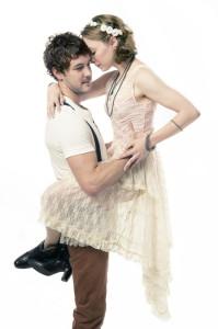 Dan Clegg (Romeo) and Rebekah Brockman (Juliet) in Cal Shakes' Romeo & Juliet, directed by Shana Cooper; photo by Kevin Berne.