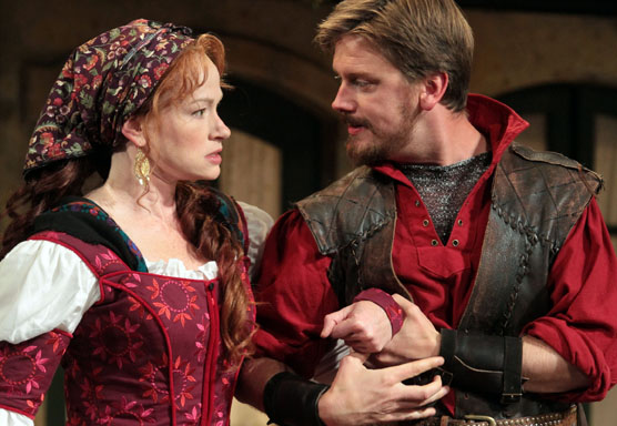 Kate (Gretchen Hall) wonders whether Petruchio's (Fred Aresenualt) marriage intentions are true in Shakespeare Santa Cruz's 2013 production of THE TAMING OF THE SHREW. Photos courtesy of Shakespeare Santa Cruz.