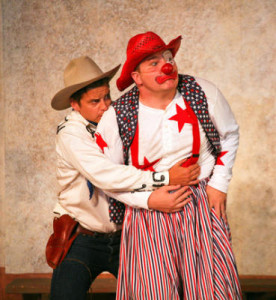 Patrick Russell as Antipholus and Jon Deline as Dromio in Marin Shakespeare Company's 'A Comedy of Errors.' Provided by Eric Chazankin