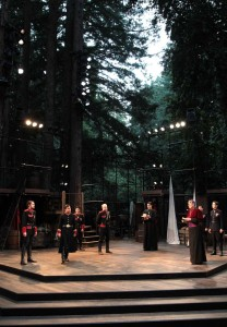 The Cast of Henry V begins the play in the majestic Festival Glen outdoor theater in Shakespeare Santa Cruz's 2013 production of Henry V. Set by Michael Ganio.