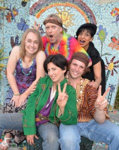 Hannah Jester (Celia), Steve Beecroft (Touchstone), Sumi Narendram (Jaques), Melissa Claire (Rosalind) and Skylar Collins (Orlando)