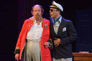 "Falstaff (Richard Ziman) is fooled yet again by ""Master Brook""- Master Ford (Mark Anderson Phillips) in disguise in Santa Cruz Shakespeare's The Merry Wives of Windsor. Photo by Jana Marcus."