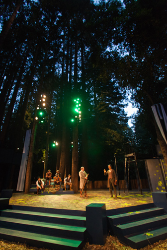 "Duke Senior's forest court (SCS acting interns), Duke Senior (Richard Ziman) poke fun at the ""melancholy"" Jaques (Allen Gilmore) in Santa Cruz Shakespeare's As You Like It. Photo by rr jones."