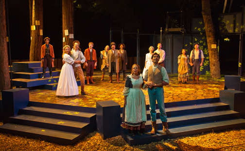 The full cast sing a celebratory hymn in Santa Cruz Shakespeare's As You Like It.  Photo by rr jones.