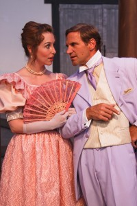 "Kate McGrath as Miss Mabel Chiltern and Darren Bridgett as Lord Goring in Marin Shakespeare Company's production of ""An Ideal Husband."""