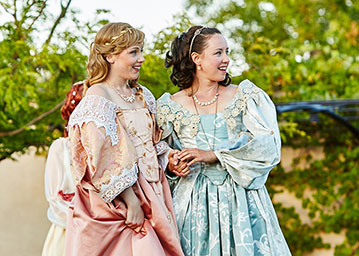 Lilian Wouters as Celia and Maryssa Wanlass as Rosalind in As You Like It. Photo by Gregg Le Blanc