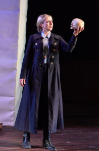 Kate Eastwood Norris (Hamlet) in Santa Cruz Shakespeare's 2016 production of Hamlet 2016. Photo by Jana Marcus.